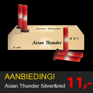 Vuurwerk Asian thunder red en silver